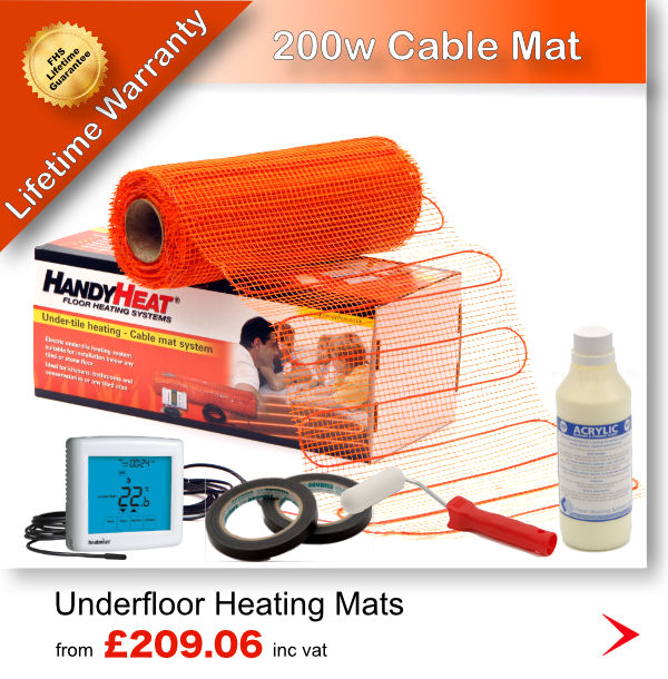 Underfloor Heating Mats 200w, perfect for high heat loss areas
